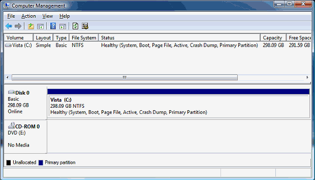 Disk map view of partitions.